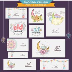 Eid Mubarak celebration social media headers or banners.