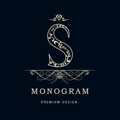Monogram design elements, graceful template. Elegant line art logo design. Letter S. Business sign, identity for Restaurant, Royalty, Boutique, Cafe, Hotel, Jewelry, Fashion. Vector illustration