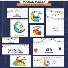 Eid Mubarak celebration social media ads or headers.