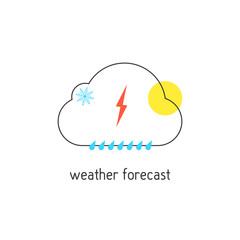 weather forecast logotype with outline cloud