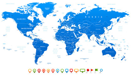 Blue World Map and navigation icons - illustration