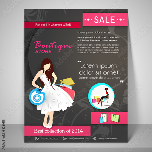 Stylish Brochure Flyer And Template For Boutique Stock Image And