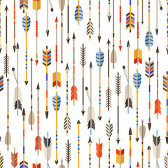 Ethnic seamless pattern with indian arrows in native style