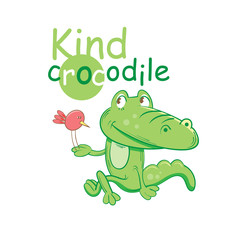 Card with a cartoon kind crocodile at whom on a paw the little birdie sits.