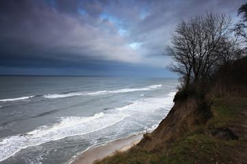 landscape sea coast waves fall