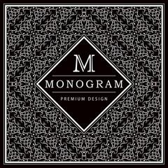 Monogram design elements, graceful template. Calligraphic elegant line art logo design. Letter M. Black and white Abstract decorative background with vintage modern pattern. Vector illustration