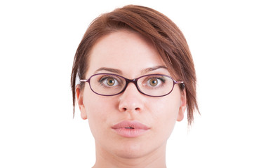 Beautiful woman or girl face wearing eyeglasses