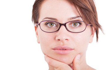 Beautiful and natural face of a woman wearing eyeglasses