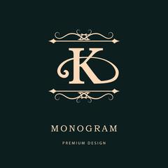 Monogram design elements, graceful template. Calligraphic elegant line art logo design. Letter emblem K. Business sign for Royalty, Boutique, Cafe, Hotel, Heraldic, Jewelry, Wine. Vector illustration