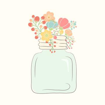 Cute bouquet of wedding flowers in a glass jar. Vector illustrat