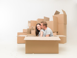 couple in love moving home