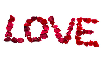 Love inscription from red rose petals, the theme of love, emotions, concepts and ideas