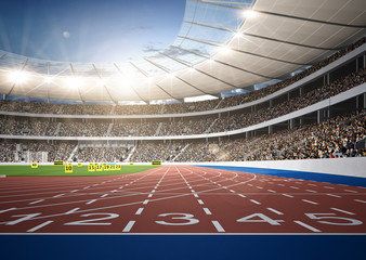 Lamas personalizadas con tu foto Stadion Leichtathletik Sprintstrecke