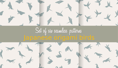 Vector set of seamless patterns. Japanese origami birds. Can be used for web page backgrounds, surface textures, background on business cards or poster, wallpapers, print on textiles.