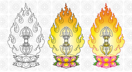 vajra with flames