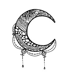 Vector of Moon in zentangle style