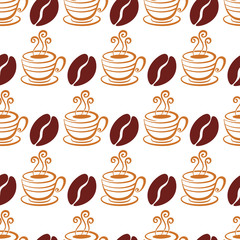 Vector seamless pattern with coffee beans and cup, isolated on w