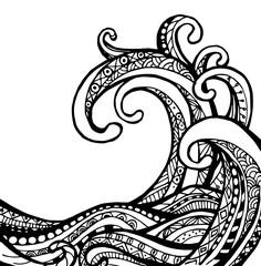 Vector of Wave in zentangle style