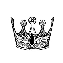 Vector of Crown in zentangle style