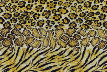 texture of print fabric stripes tiger and snake leather