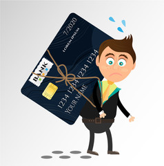 Realistic, isolated, modern, black credit card with pattern, sad, angry, young businessman, white background
