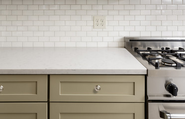 Kitchen Counter with Subway Tile, Stainless Steel oven stove, Sh