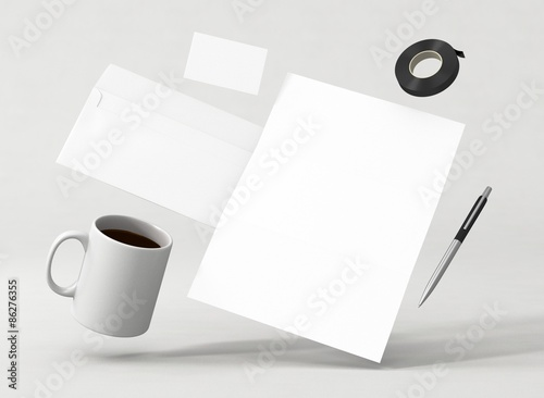 Briefpapier Kuvert Visitenkarte Vorlage Kaffee Stock Photo