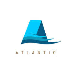 Letter A marine logo template