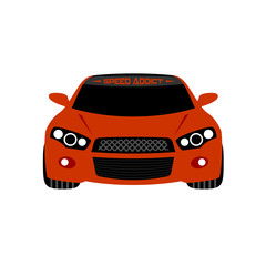 Red sport car front view vector illustration