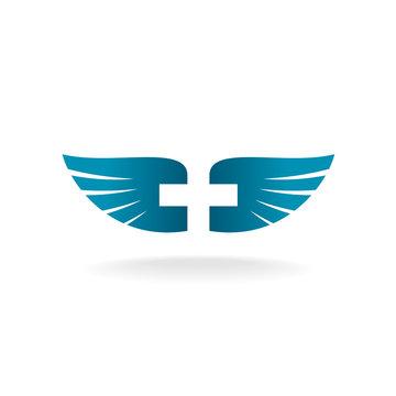 Wings and cross logo