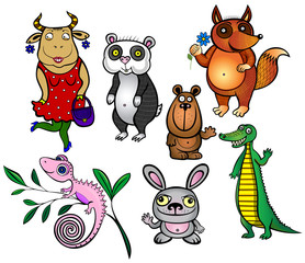 Greeting.set of seven funny animals.