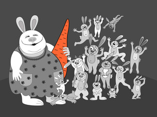 big family . rabbit with carrot . mother . surprise  gift . food.