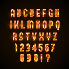 vector illustration of retro glowing font
