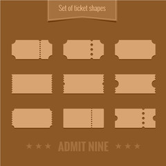 Set of vector ticket shape silhouettes template