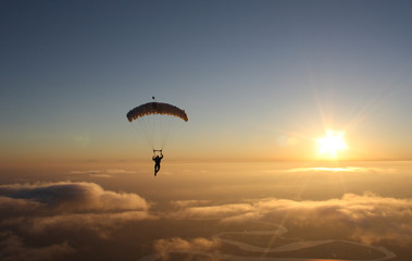 Skydiving Canopy sunset Landscape