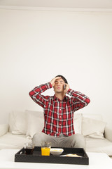 Man talking by phone and worried