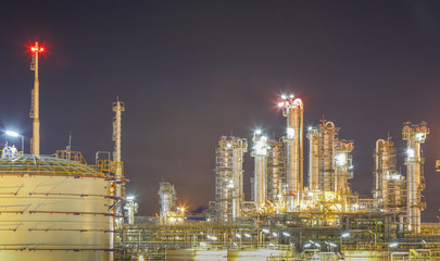 Night scene of refinery factory