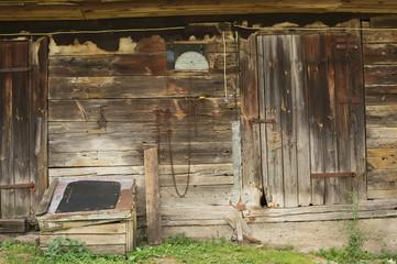 Rural historic old wood barn wall