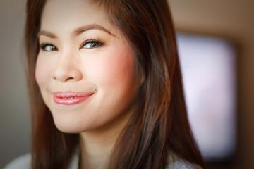 Woman makeup dress mirror Beautiful smile teen concept