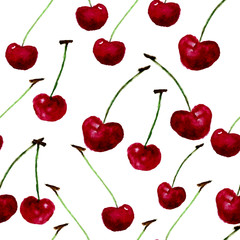 Vector watercolor seamless bright cherry pattern. EPS10