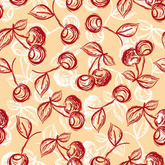 seamless pattern cherry hand-drawn