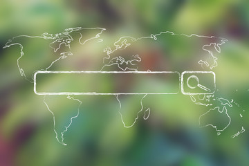 world map with internet search bar on blurred tree background