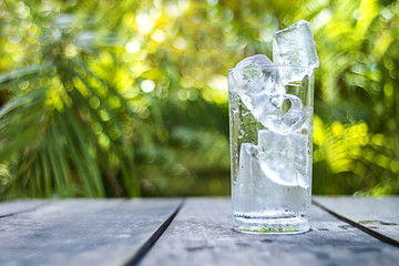 Ice in glass with blur background