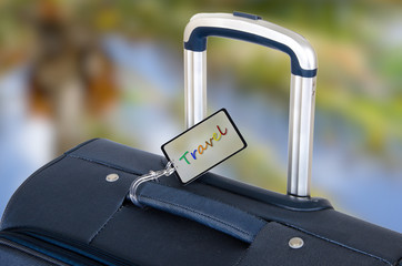 Travel suitcase close up with handle