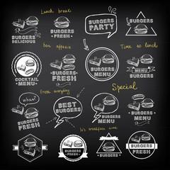 Burgers set of icons menu, vector illustration.