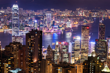 HONG KONG - JUNE 08, 2015: skyline of Hong Kong from Victoria Pe