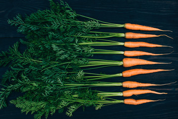 Young carrot. Cooking with fresh vegetables