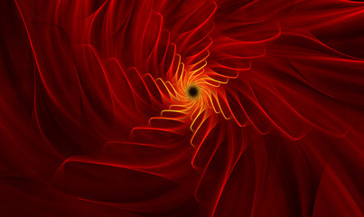 fractal background with bright red flower with gold midway