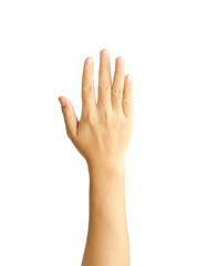 Hand of young man raised isolate on white with clipping path