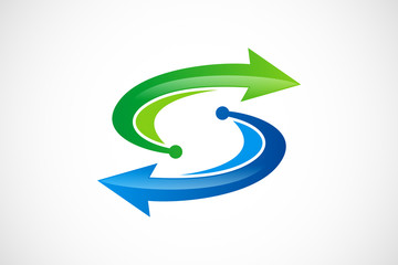arrow direction recycle technology S letter logo